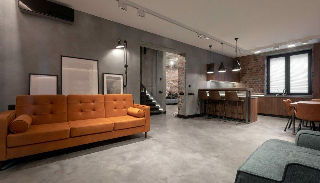 Cozy interior design of contemporary light spacious studio apartment